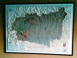 Mapa en relieve de la provincia de León