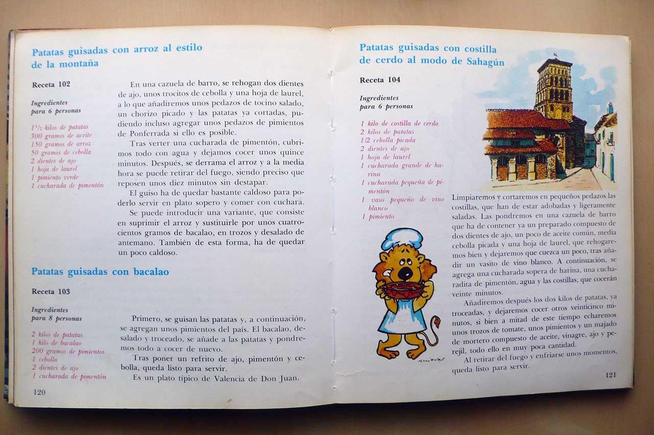 detalle de tres recetas de guiso de patata