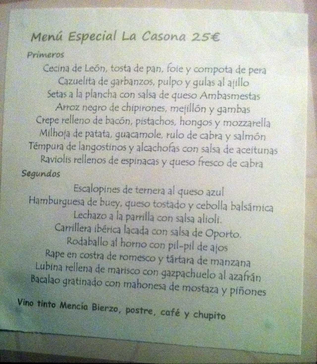Menu Especial La Casona