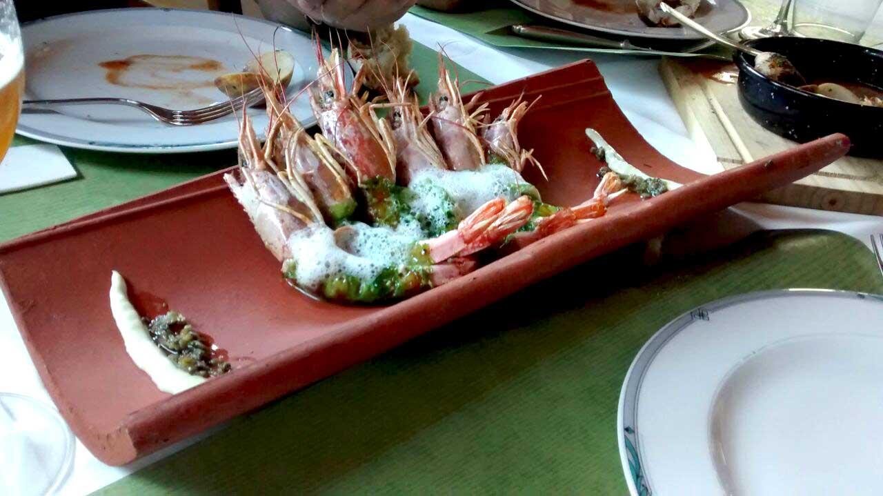 Gambones pelados con Algas La Tronera